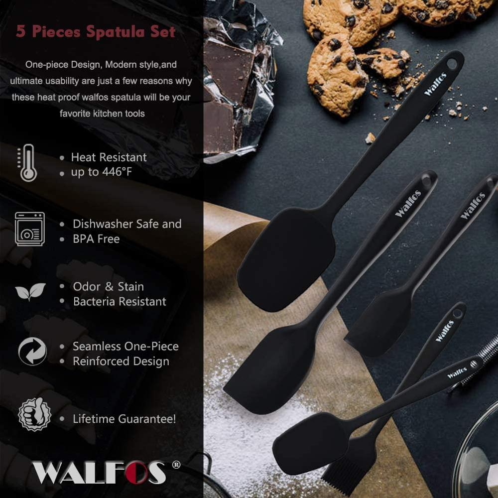 WALFOS Kitchen Utensil Cooking Tools Silicone Spatula Set Spoon Cake Spatulas for Cooking Baking and Mixing 2