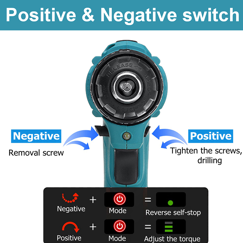 Tools : MUSTOOL 3 in 1 Cordless Electric Impact Drill 10mm 25 Torque 2 Gears Brushless Electric Screwdriver For Makita 18V Battery