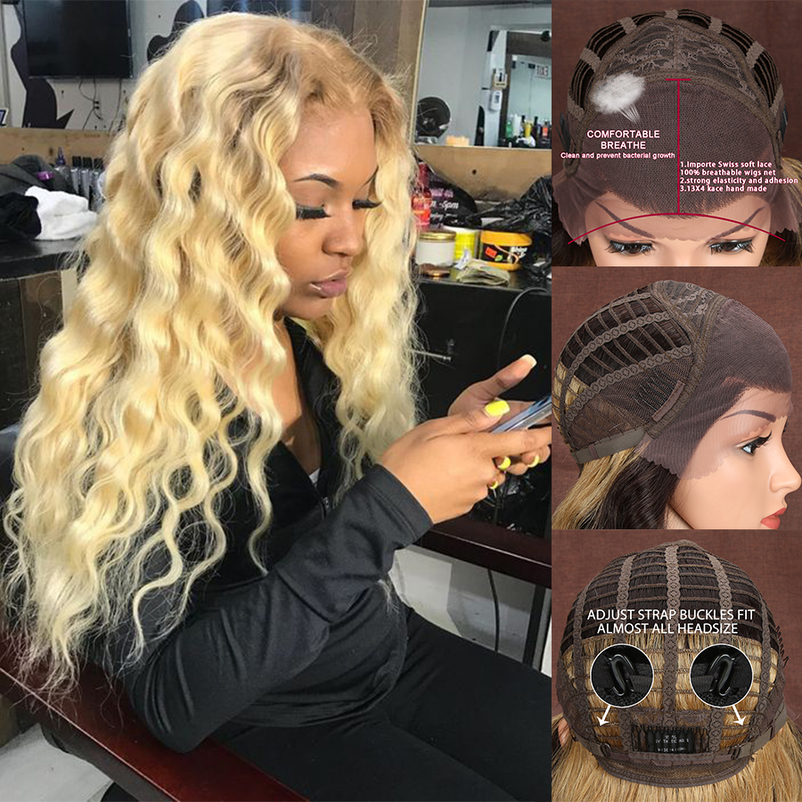 Ombre Blond 71CM Long 13X4 Synthetic Lace Front Wigs For Black Women Supper Deep Natural Wave Hair Heat Resistant Fiber Hair