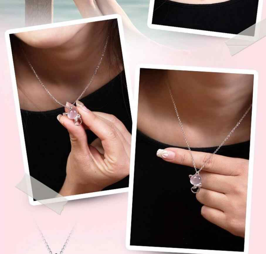 925 Sterling Silver Rosa Luz Da Lua Gato Pedra Colar Pingente Para Mulheres Presente 45 centímetros Elo Da Cadeia collares S-N75 kolye