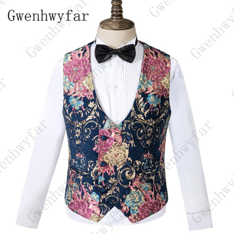 Gwenhwyfar Navy Blue Peaked Lapel 3 Pieces Flower Suit Mens Tuxedo Floral Wedding Prom Suits Best Man Blazer With Pants Vest Islamabad