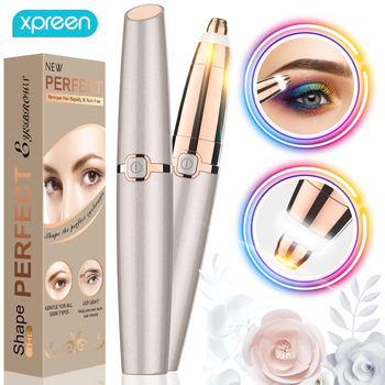 Electric Eyebrow Trimmer Epilator Painless Face Eye brow Hair Remover Pen Lipstick Shaver with LED Light Shaving Dropshipping