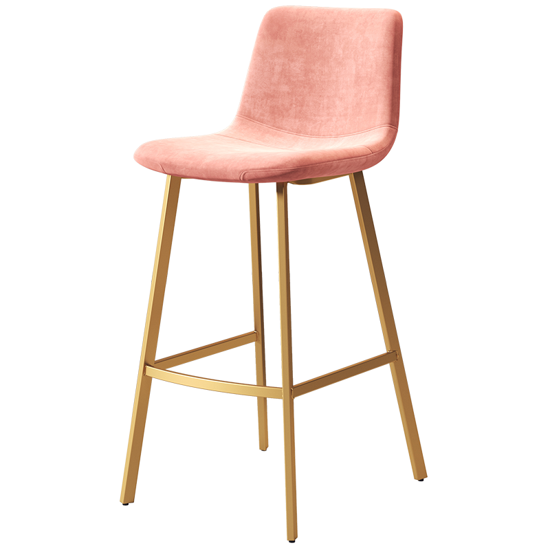 Northern Europe Light Luxury Backrest High Stool Gold Net Red Bar  Ins  Chair   Simple And Fashionable