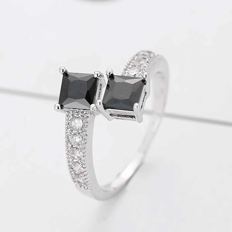 Luxo estrelado estrela anéis real 10kgf ouro branco enchido anéis para mulheres moda jóias dedo anel com genuíno preto cz