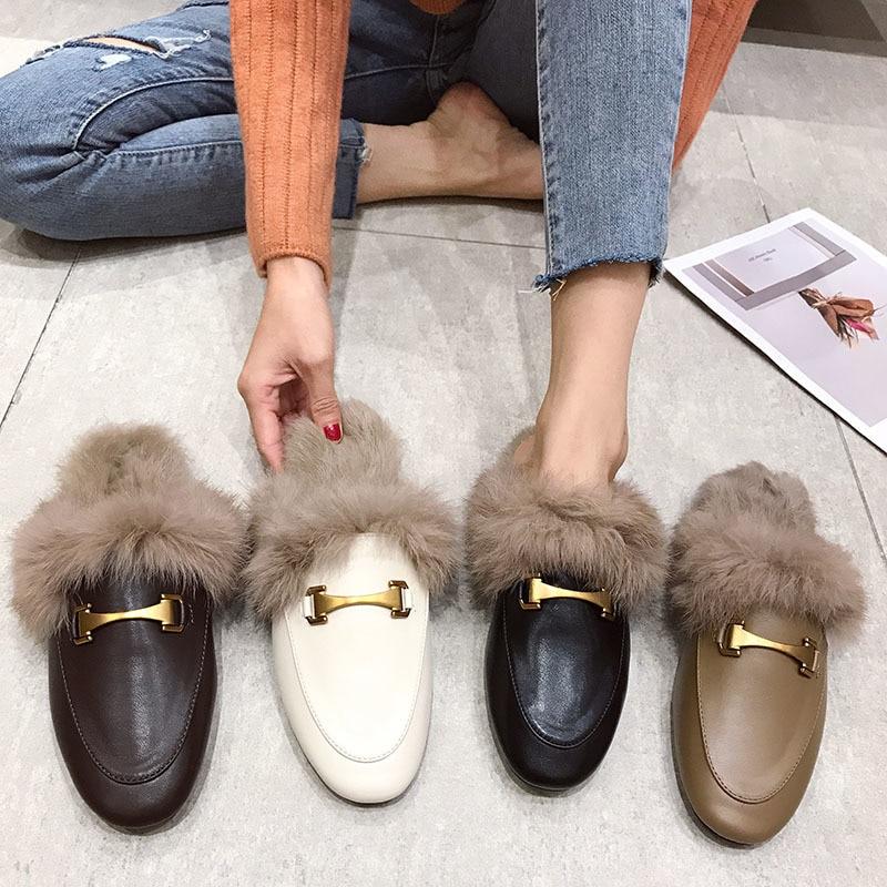 Women Flat Slippers Slip On Mules Brand Designers Fashion Luxury Rivet T-strap Slides Slip On Loafers Mules Women Fur Slides