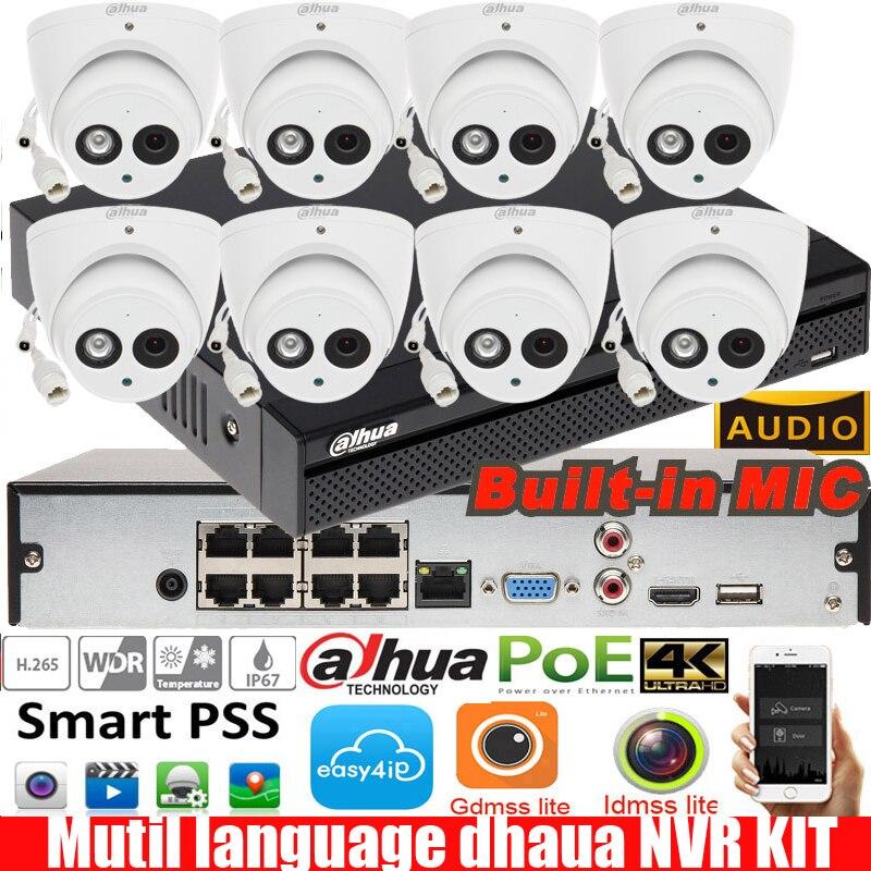 NVR2108hs-8P-4kS2 POE Dahua 8CH lenguaje mutil con 8 piezas 6mp Domo impermeable POE IP Cámara IPC-HDW4631C-A sistema de seguridad Sistema de alarma de casa, intercomunicador con alarma Wifi GSM, Control remoto, Autodial, detectores de 433MHz, IOS, Android, Tuya, teclado táctil con Control de aplicación