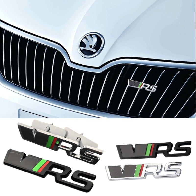 VRS GRILLE BADGE /& REAR BOOT BADGE Skodaa VRS Black Grille /& Boot Badge Emblem Metal Fabia Octavia Rapid Superb