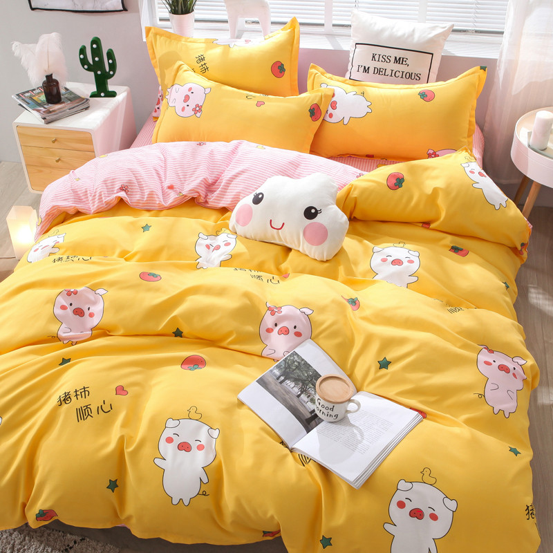 3/4pcs Cute Bedding Set Home Luxury Flat Polyester Cotton Bedsheet King Size Bedding Set Adult Girl Quilt Cover With Pillowcase