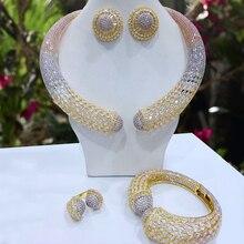 GODKI de fiesta de lujo de serpiente 4 Uds Nigeria conjunto de joyería para mujer circonio de boda india Africana joyería nupcial conjunto 2018