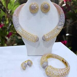 Image 1 - Godki Luxe Party Snake 4 Pcs Nigeriaanse Sieraden Set Voor Vrouwen Bruiloft Zirkoon Indian Afrikaanse Bruids Sieraden Set 2018