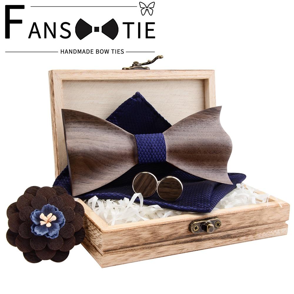 2020 Paisley 3D Walnut Wooden Wood Bow Tie Silk Handkerchief Cufflink Brooch Set For Mens Wedding Novelty Accessory Ties And Box