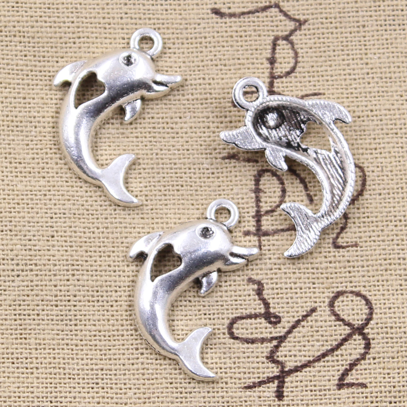 15pcs Charms Sea Dolphin Heart Cut 26x21mm Antique Silver Color Pendants DIY Crafts Making Findings Handmade Tibetan Jewelry