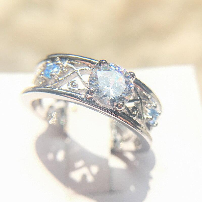 Винтажное кольцо из серебра 925 пробы, обручальные кольца в форме листа, циркониевое обручальное кольцо, блестящие кольца для женщин, модные ...