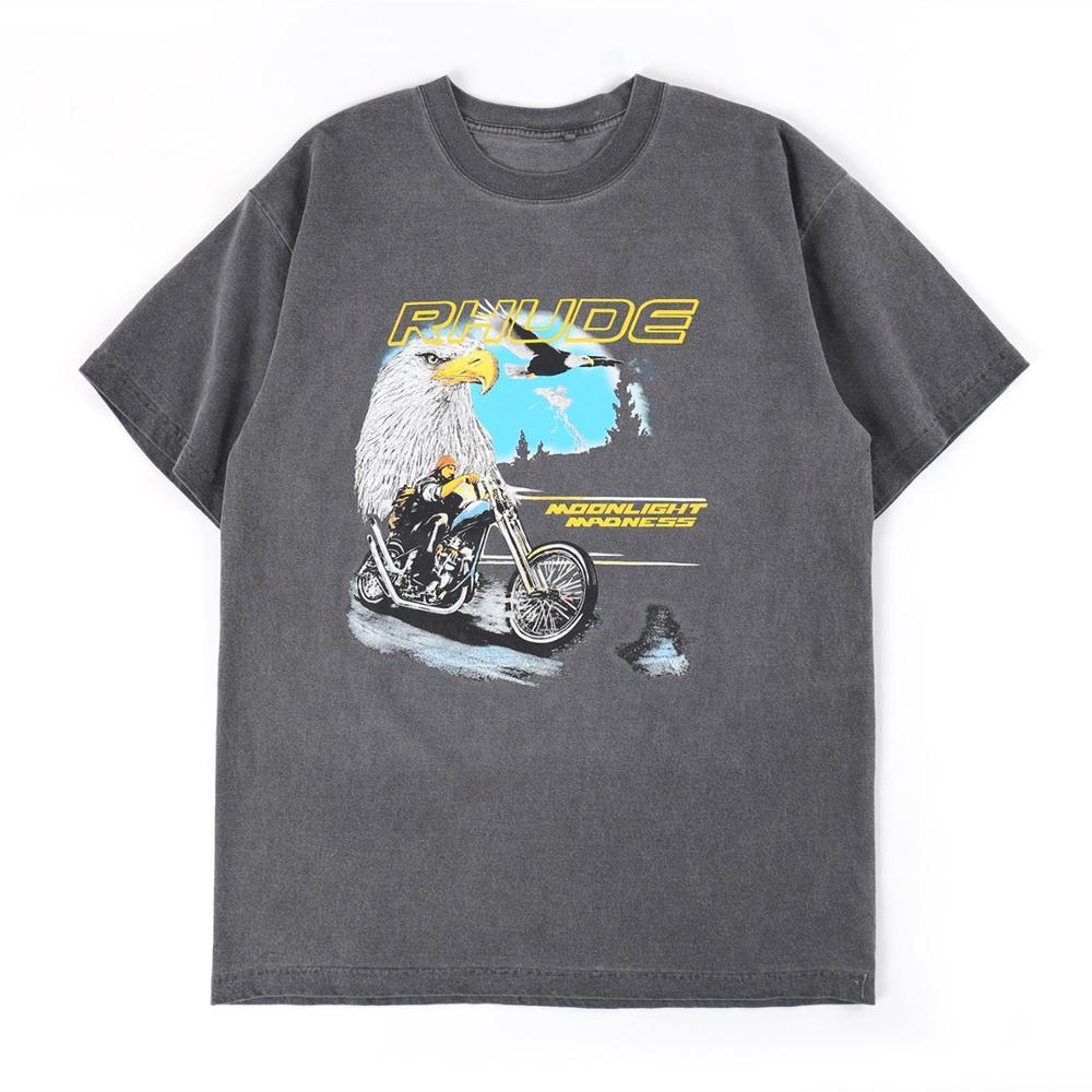 2020 Rhude T-shirt Bald Eagle Moonlight Madness Logo RHUDE Tee Men Women Vintage Casual T-shirts  High Quality Tops Shocker