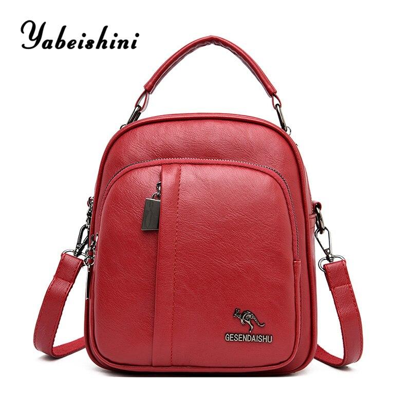 high quality women Leather Backpacks ladys travel backpack Multifunction women kangaroo backpacks for teenage girls sac a dos