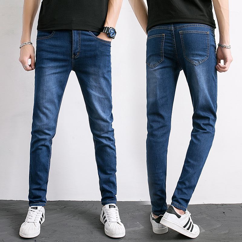 Men Blue Jeans Young MEN'S Slim Fit Skinny Pants Casual Elasticity Korean-style Trend Tight Pants Men's