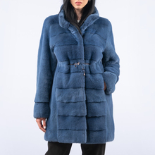 Fashion Blue Genuine Mink Fur Coat Natural Women Winter High Quality Whole Skin Real Mink Fur Coat for Woman Winter Outwear 2021