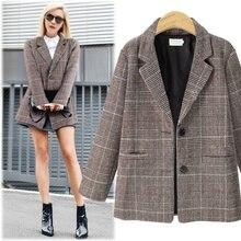 Women plaid jacket England style women office ladies basic S