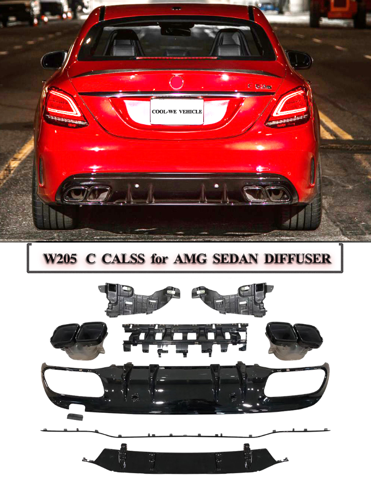 For C63 AMG Diffuser SEDAN exhaust tips for <font><b>Mercedes</b></font> Benz W205 C205 4-Door C200 <font><b>C300</b></font> C43 AMG to C63 for AMG Rear Bumper Lip image