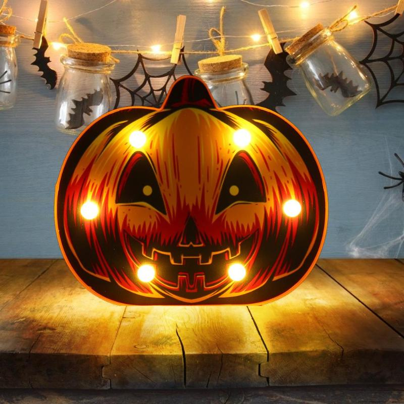 Bat Animal Pumpkin Marquee Sign LED Light Wall Hanging Night Lamp Creative Halloween Party Decor Home Decoration Accessories