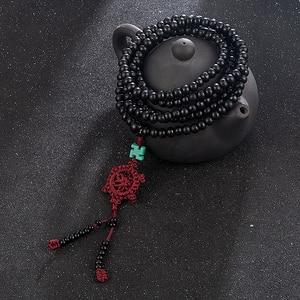 Image 2 - 2 Color Natural Fragrant Sandalwood Beads Bracelet Buddhist Meditation Prayer Beads Mala Bracelet Hand Necklace