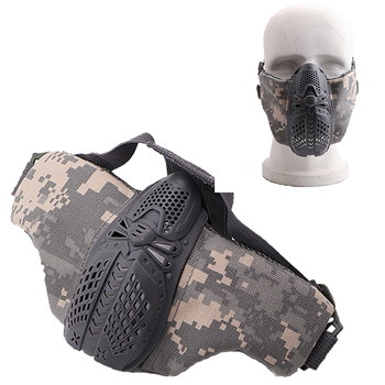 tactical full face mask hunting headgear balaclava mesh mask airsoft paintball game protective mask cs shooting ninja style mask Airsoft Tactical Game Protective Mask Adjustable Breathable Half Face Mask Outdoor Camouflage Hunting Paintball Shooting Mask