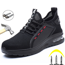 Breathable Men Work Safety Shoes Anti-smashing Steel Toe Cap Working Boots Construction Indestructible Work Sneakers Men Shoes