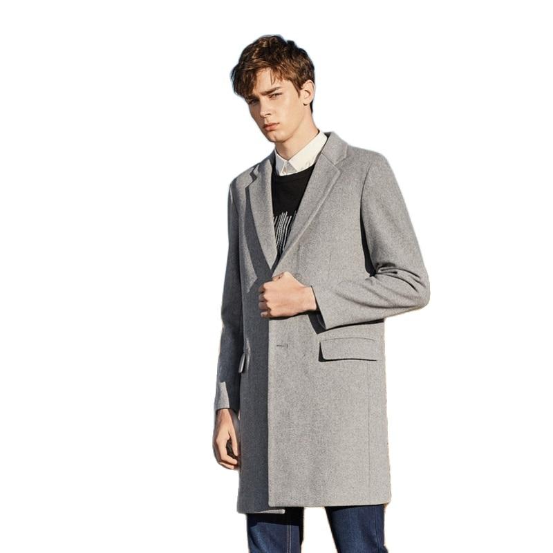SEMIR Men Felted Wool Blend Coat Dropped Shoulder Men Coat Open Chest Pocket 100% Silky Polyester jacket men for Winter
