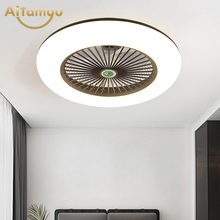 Fans Ceiling-Fan-Lights Plafonnier Invisible-Leaves Lampara Remote-Control Bedroom LED