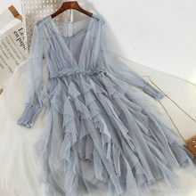 Two Pieces Small Fresh Goddess Dress Chic Gentle Suspender Ball Gown Sweet Dresses 2019 Cascading Ruffle Mid-calf Empire V-neck(China)