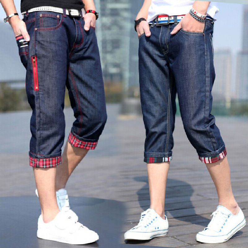Summer Thin Section Men Capri Jeans Korean-style Loose-Fit Straight-leg Pants Hong Kong Style Casual Capris Fashion