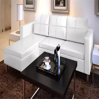 VidaXL Sectional 3 Seater Sofa Synthetic Leather White Includes 1 L Shaped Sofa, 3 Pillows And 3 Cushions 241980
