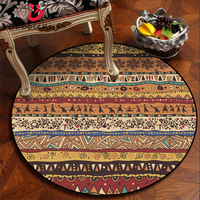 Rugs and Carpets for Home Living Room Orange Abstract Tribal Ethnic Style Pattern Round Carpet 100% Polyester Floor Mat