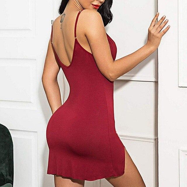 Sexy Lingerie Women Nightdress Lace Mini Dress Deep V Neck Nightie Nightgown Sleep Wear Sleepwear Night 3
