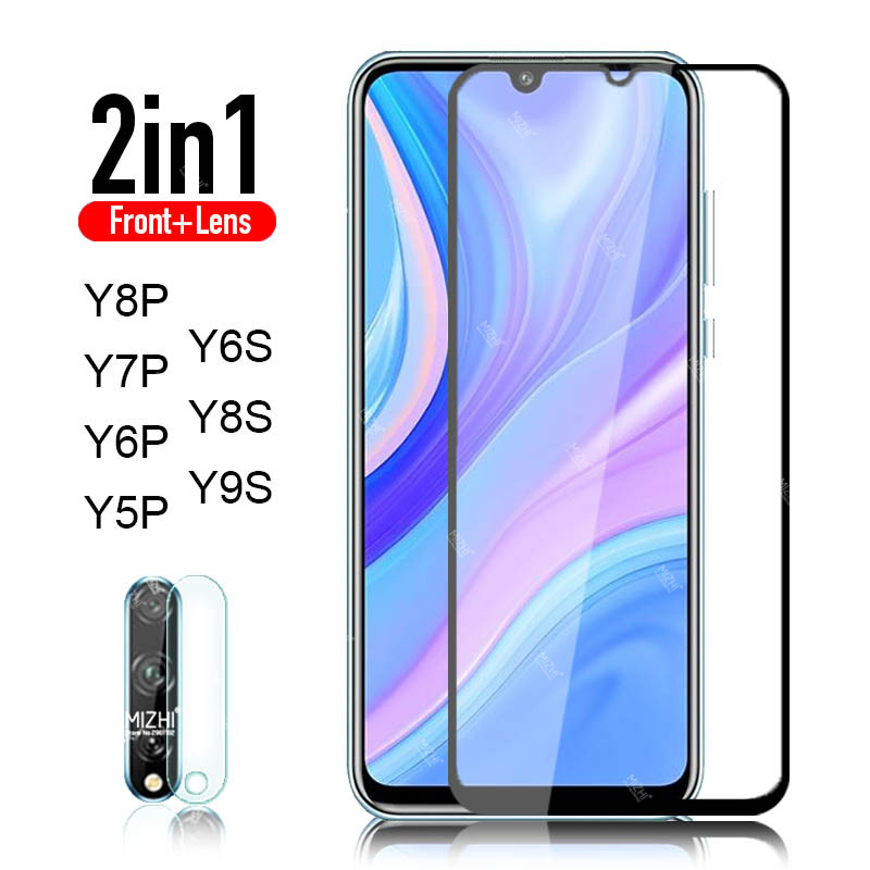 2in1 protective glass for huawei y8p y5p y7p y6p y6s y9s y9a 2020 camera protector tempered glas on y 8p 5p 6p 7p 6s 9s 9a film