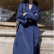 High end Europe Cashere Coat Female Long Jacket 2020 New Autumn and Winter Women Bathrobe Double sided Wool Coat NS1424