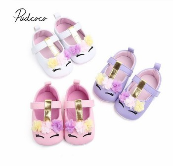 2019 Brand New Toddler Baby Girls Flower Unicorn Shoes PU Leather Soft Sole Crib Spring Autumn First walkers 0-18M