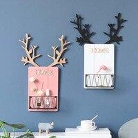 북유럽 나무 antlers 장식 벽 선반 sundries 주최자 스토리지 홀더 랙 마무리 철 그리드 교수형 바구니 홈 장식