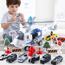 QWZ New Music Simulation Track Inertia Children's Toy Aircraft Large Size Passenger Helicopter Airliner Toy Car For Kids Gift