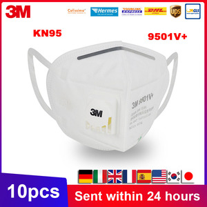 10 sztuk 3M 9501V 9501V + maska KN95 Respirator cząsteczkowy ochronne jednorazowe maski na twarz bezpieczeństwa usta maska z zaworem 9501 KN95