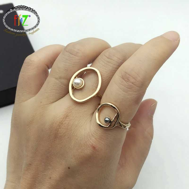 F.J4Z Fashion Woman Finger Ring  Rings Simulated Pearl Rhinestone Ladies Rings Minimalist Jewelry Girl Gifts anillos de mujeres