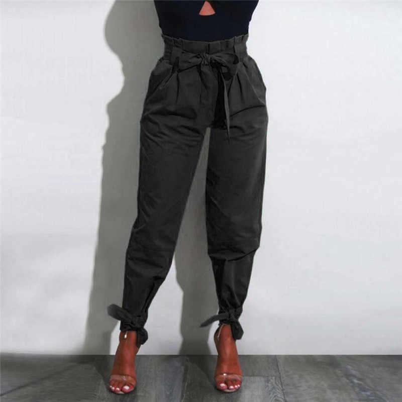Pantalones de Cintura Alta para Cintura Alta Mujer Pantalones Casual de fiesta para Mujer cinturón sólido con cordones para correr 4 #45