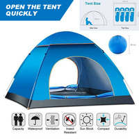 Automatic Pop Up Camping Tent Family Travel Waterproof Outdoor Camping Hiking Tent UV Protected Beach Dome Tent for 3 4 People