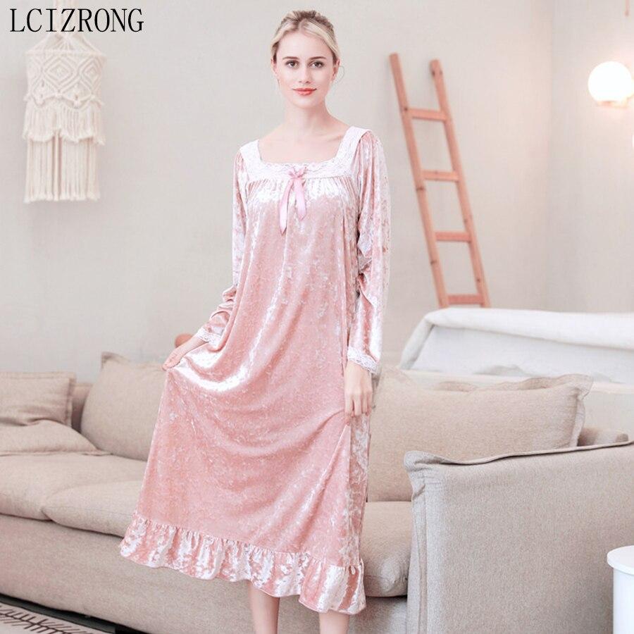 Spring Velvet Long Sleeve Midi Dress Sleepwear Women Long Sleeve Loose Nightgowns Elegant Ladies Plus Size Night Dress