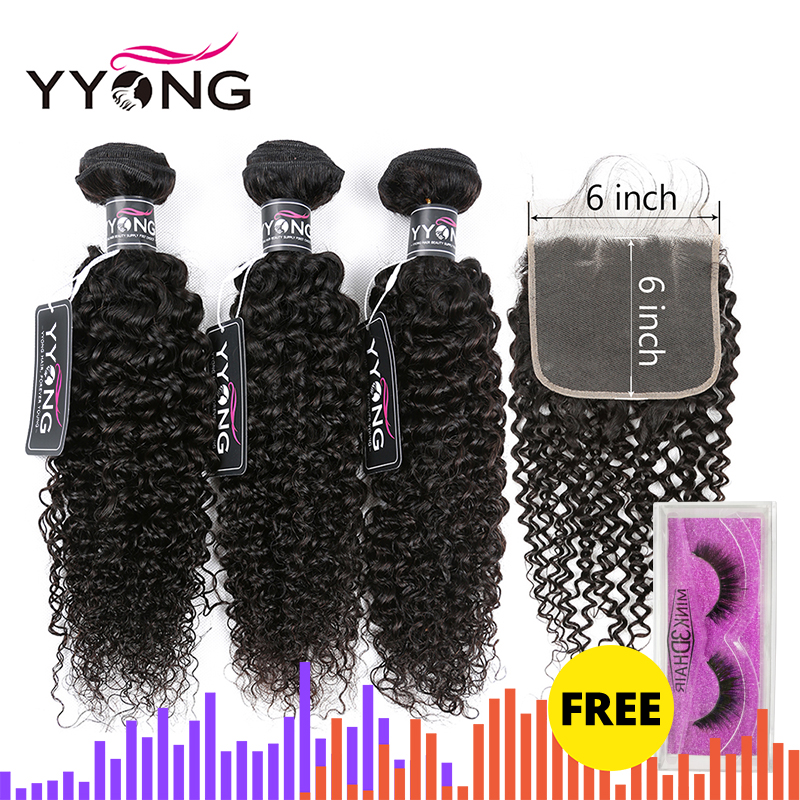 Yyong 6x6 Closure With Bundles Kinky Curly 3/4 Bundles Human Hair With Closure Peruvian Remy Hair Bundles With Lace Closure