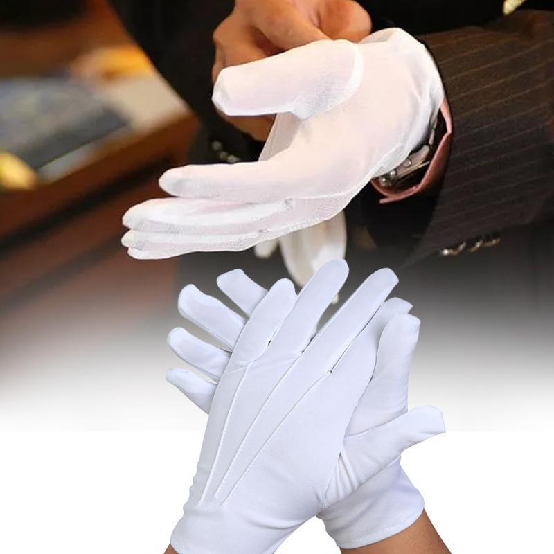 1 Pair Of Polyester Short White Gloves Safety Etiquette Thin Gloves Non-slip Protective Gloves Wedding Supplies Elegant Noble