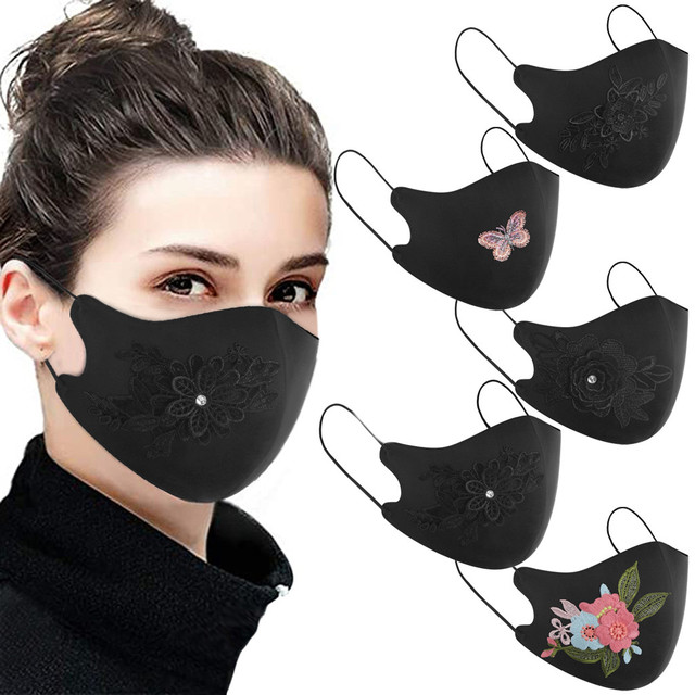 Rose flower Protective Mask Women Dust Sand Exhaust Sunscreen Face Mask Breathable Cycling Maskes Anti-flu masque de protection 5