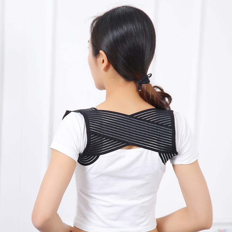 Man Female Adjustable Posture Corrector Brace Net Breathable Back Spine Support Belt Humpback Shoulder Posture Correction Belt in Back Support from Sports Entertainment