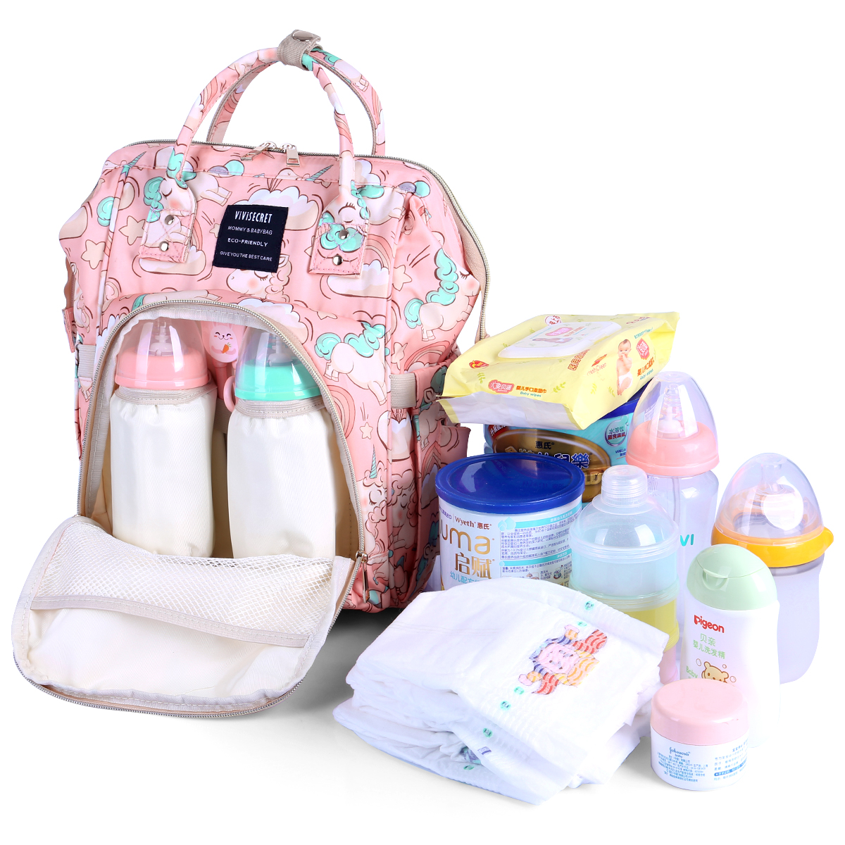 Hf9d08f4f06554003bc36eedd7aac6232Z Diaper Bag Backpack For Moms Waterproof Large Capacity Stroller Diaper Organizer Unicorn Maternity Bags Nappy Changing Baby Bag
