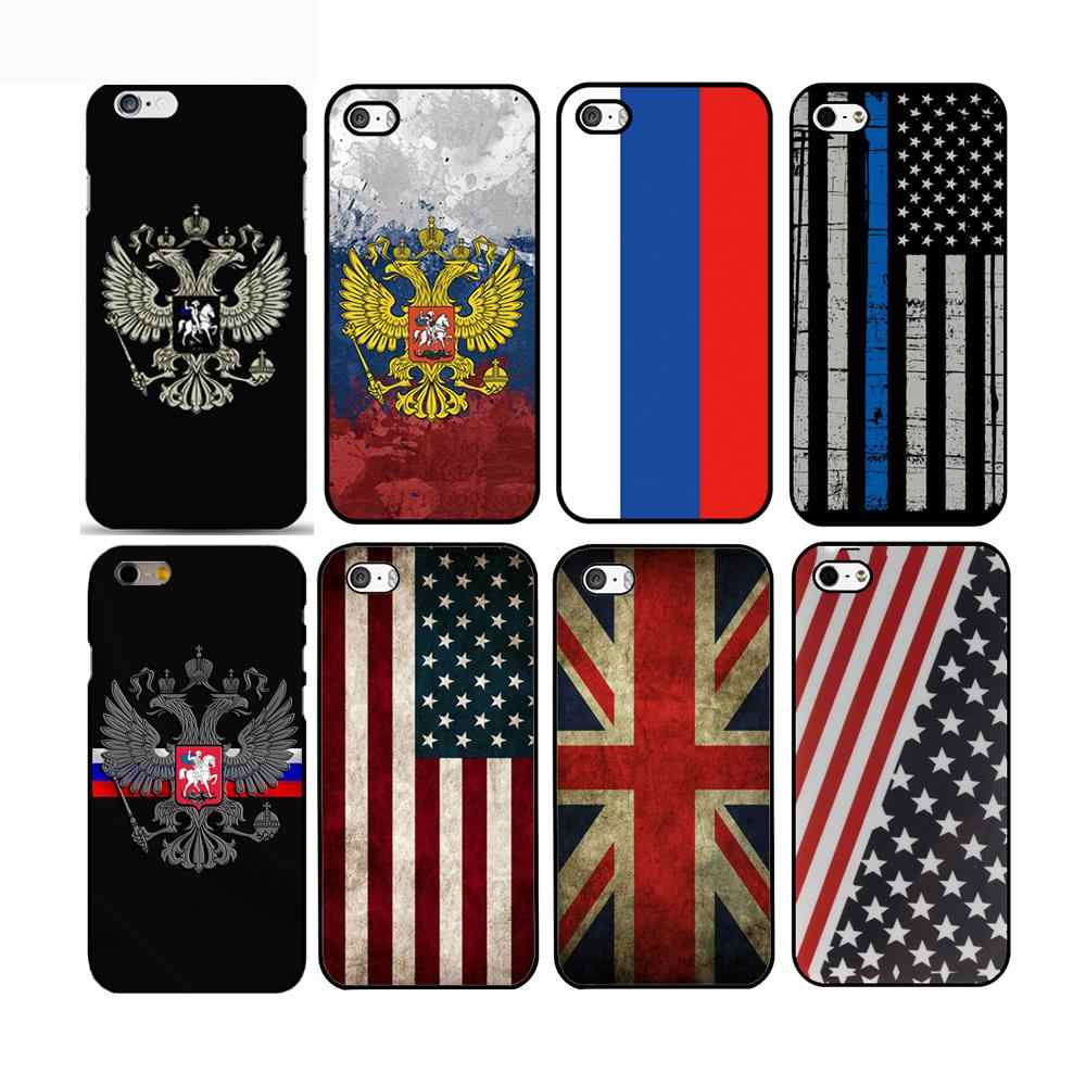 Rusia/Amerika/Inggris Bendera Nasional Emblem Ponsel Hard Plastik Case Cover For iPhone 4S 5S SE/6/6 Plus /7 7 Plus 8 8 Plus X